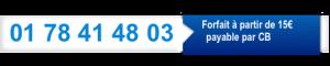 Bannière bandeau bleu avec le numéro de téléphone pour de la voyance sérieuse en privé